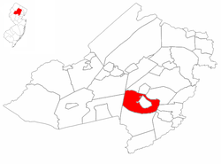 Morris Township highlighted in Morris County. Inset map: Morris County highlighted in the State of New Jersey.
