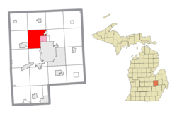 Location within Genesee County (red) and an administered portion of the Beecher community (pink)