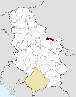 Location of the municipality of Golubac within Serbia