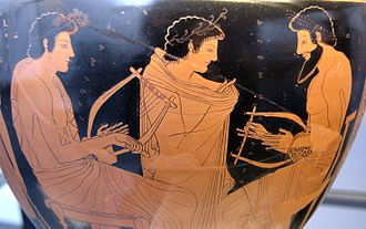 Music - A painting on an ancient Greek vase depicts a music lesson (c. 510 BC).