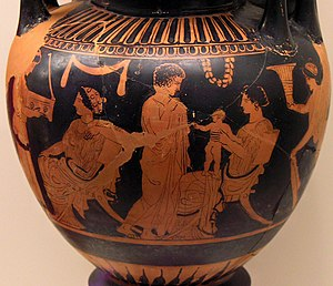 Gynaeceum - Family scene in a gynaeceum – painted on a lebes gamikos about 430 BC