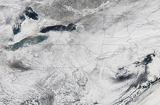 North American blizzard of 2006 - Another NASA satellite image of the storm.