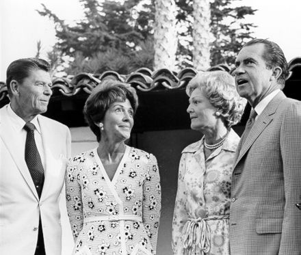 The Reagans meet with President Richard Nixon and First Lady Pat Nixon, July 1970 NIXONSandREAGANS.jpg