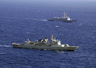 Standing NATO Maritime Group 2 - Portuguese frigate NRP ''Corte Real'' (F332) and Turkish frigate TCG ''Gelibolu'' (F493), participating in SNMG-2 during Phoenix Express (PE 08).