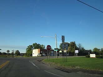New York State Route 93 - NY 93 westbound at the junction with NY 104 in Warren Corners