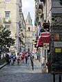 Napoli - Via dei Tribunali e campanile S. Pietro a Majella.JPG