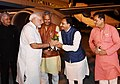 Narendra Modi being received by the Governor of Uttarakhand, Dr. K.K. Paul, the Chief Minister of Uttarakhand, Shri Trivendra Singh Rawat and other dignitaries, on his arrival, at Dehradun, Uttarakhand.JPG