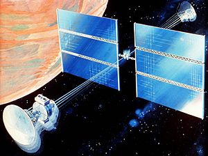 Interplanetary spaceflight - In the artistic vision, the spacecraft provides artificial gravity by spinning (1989)