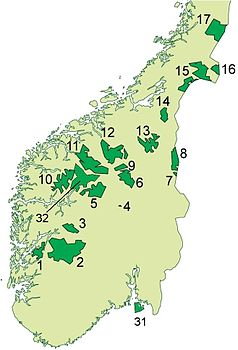 Die Nationalparks in Süd-Norwegen (der Reinheimen hat Nummer 11)