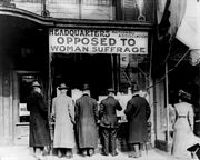 The sign of the headquarters of the National Association Opposed To Woman Suffrage