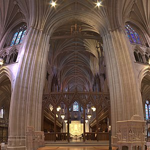 Washington National Cathedral - Looking east, looking up to the choir of the cathedral