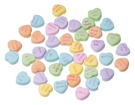 Conversation hearts, candies with messages on them that are strongly associated with Valentine's Day. Necco-Candy-SweetHearts.jpg