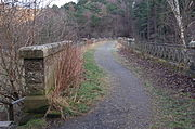Between the parapet wall on the left and the cast iron railings on the right, a footpath where once there were rails extends across the viaduct, curving gently towards the right and the tunnel mouth