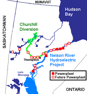 Burntwood River - Planned Churchill Diversion. The east-west part of the diversion follows the Burntwood and the north-south part the Rat River .The headwaters of the Burntwood are near Kississing Lake, which is the lake west of Thompson and south of the Churchill.