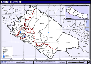 Banke District - Map of the VDC/s and Municipalities (blue) in Banke District