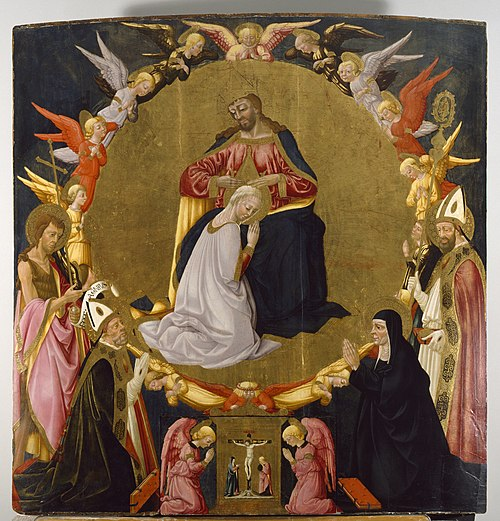 The Coronation of the Virgin by Neri di Bicci, c. 1470 Neri di Bicci - The Coronation of the Virgin with Angels and Four Saints - Walters 37675.jpg