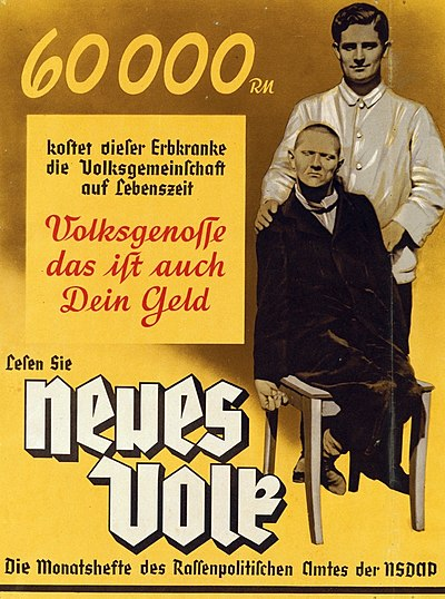 "The poster reads: ""60,000 RM is what this person with hereditary illness costs the community in his lifetime. Fellow citizen, that is your money too. Read Neues Volk, the monthly magazine of the Office of Racial Policy of the NSDAP."" Neues Volk eugenics poster, c. 1937 (brightened).jpeg"