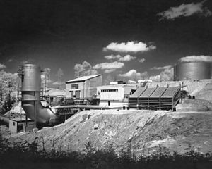 Rocket Engine Test Facility - 1957 photograph of the just completed Rocket Engine Test Facility