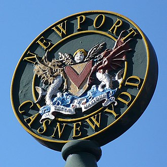 Coat of arms of Newport - The coat of arms as seen on a sign at Stow Hill, Newport.