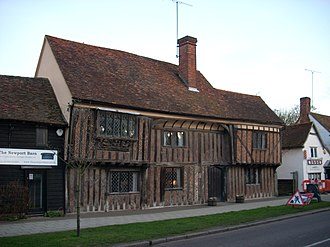 Wealden hall house - Monks' Barn, Newport, Essex. Showing a brick filling in herringbone pattern