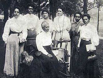 Freeman H. M. Murray - Women at the 1906 Niagara Movement Conference at Harpers Ferry: Mrs. Gertrude Wright Morgan (seated) and (left to right) Mrs. O.M. Waller, Mrs. F.H.M. Murray, Mrs. Mollie Lewis Kelan, Mrs. Ida D. Bailey, Miss Sadie Shorter, and Mrs. Charlotte Hershaw.