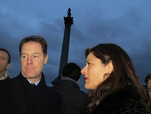 Nick Clegg - Nick Clegg attends the Je Suis Charlie rally with his wife Miriam González Durántez in Trafalgar Square, January 2015