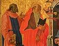 Nicola di maestro antonio d'ancona, madonna col bambino in trono tra santi, 1472, 02 leonardo e girolamo.jpg