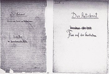 Title pages for Friedrich Nietzsche's Der Anti...