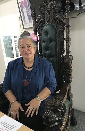 Parliament of the Cook Islands - Speaker Niki Rattle seated in the Speaker's Chair in 2017.