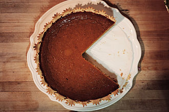 Pumpkin pie - Pumpkin pie, with two slices removed