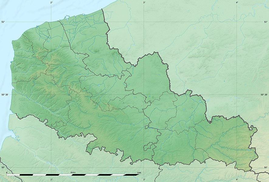 Blank physical map of the region of Nord-Pas-de-Calais, France, as in January 2007, for geo-location purpose, with distinct boundaries for regions, departments and arrondissements.