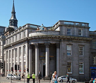 Architecture of Aberdeen - The old North of Scotland Bank by Archibald Simpson viewed from the Castlegate
