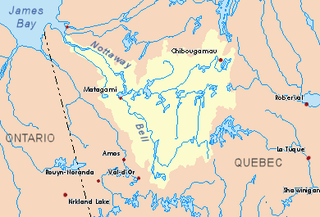 Maicasagi River tributary of lake Maicasagi, flowing in municipality of Eeyou Istchee Baie-James, in administrative region of Nord-du-Québec, in Québec, in Canada