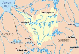 Kauskatitineu River - Image: Nottaway map