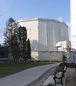The McMaster Nuclear Reactor is the largest research reactor in the Commonwealth of Nations. Nuclear Reactor McMaster 2013.jpg