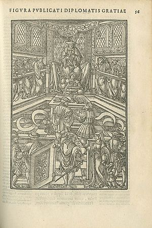 Simon de Colines - Illustration of an imaginary murder trial from Praxis criminis persequendi by Jean Milles de Souvigny and printed by Simon de Colines