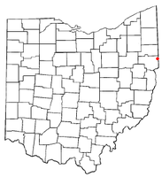 Location of East Palestine, Ohio
