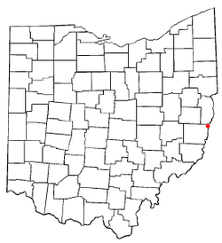 Location of Yorkville, Ohio