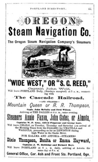 Emma Hayward - Advertisement for the steamers, including Emma Hayward, by the Oregon Steam Navigation Company, circa 1878.