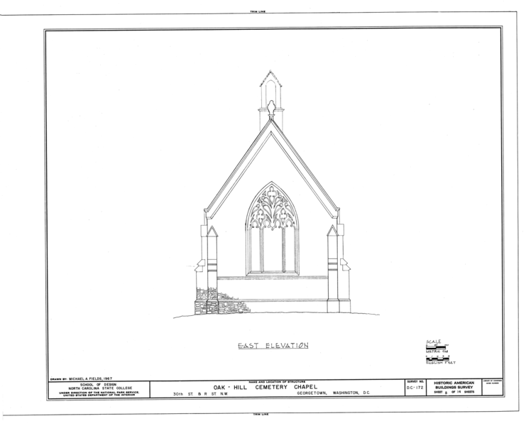File:Oak Hill Cemetery, Chapel, 3001 R Street Northwest, Northeast of gatehouse, Washington, District of Columbia, DC HABS DC,GEO,41B- (sheet 5 of 14).png