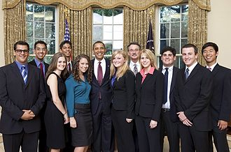 United States Academic Decathlon - President Barack Obama with the Academic Decathlon team from Moorpark High School, the 2009 National Champions. Winning teams have often been invited to meet the President of the United States.