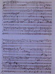 Manuscript of Bardengesang auf Gibraltar: O Calpe! Dir donnert's am Fusse by Wolfgang Amadeus Mozart.