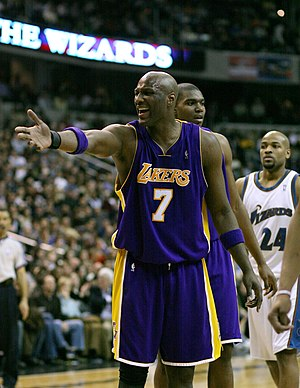 Lamar Odom playing with the Los Angeles Lakers