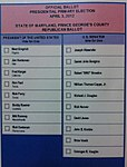 Official Ballot Maryland Prince George's County Republican Primary, 2012.jpg
