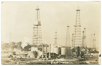 East Texas Oil Field - Oil Field Scene, East Texas circa 1920