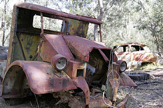 Wrecking yard - Old cars rusting away
