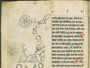 "Treasure trove - Oldenburg Sachsenspiegel of 1336 Fol. 22v detail regarding the treasure trove, starting with red initial A (Middle Low German): ""Al schat under der erden berauen deper den en ploch geyt de hort to derer conicliken walt."" (Everything lying deeper in the ground than the range of a plowshare, belongs to the king.)"