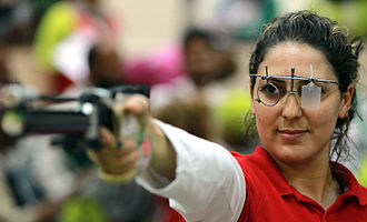 Tunisia at the 2016 Summer Olympics - Olfa Charni competing in the final of the women's air pistol at the 2011 Pan Arab Games.