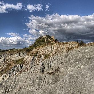 Olistostrome - The eroded Miocene olistostrome at Canossa, Italy