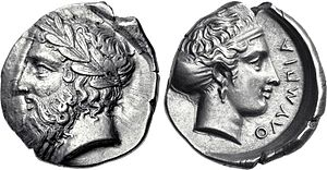 Greek drachma - Tetradrachm from Olympia. 105th Olympiad, 360 BC. Obverse: Head of Zeus. Reverse: The nymph Olympia, inscription: ΟΛΥΜΠΙΑ.